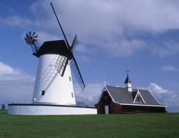 Lytham Windmill:  Located on the Green at Lytham, Southport can be seen across the bay, other windmills in the area are Little Marton Just off J1 of the M55, Marsh Mill at Cleveleys and Dowbridge at Kirkham (Now part of a House).